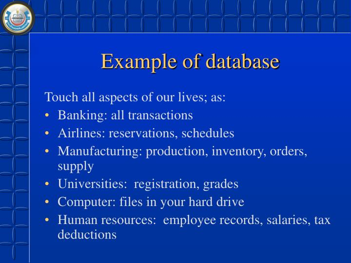 Example of database