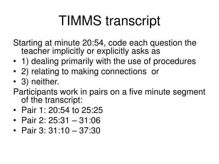 TIMMS transcript