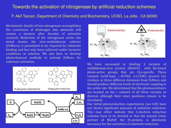 Towards the activation of nitrogenase by artificial reduction schemes