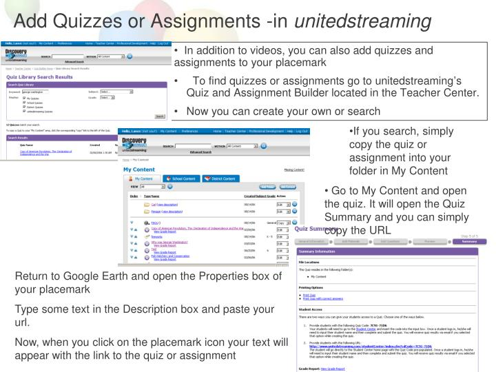 Add Quizzes or Assignments -in