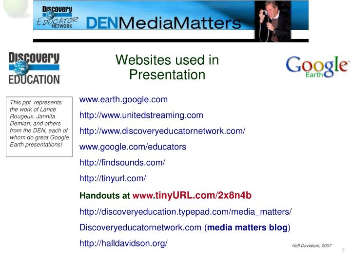 Websites used in presentation