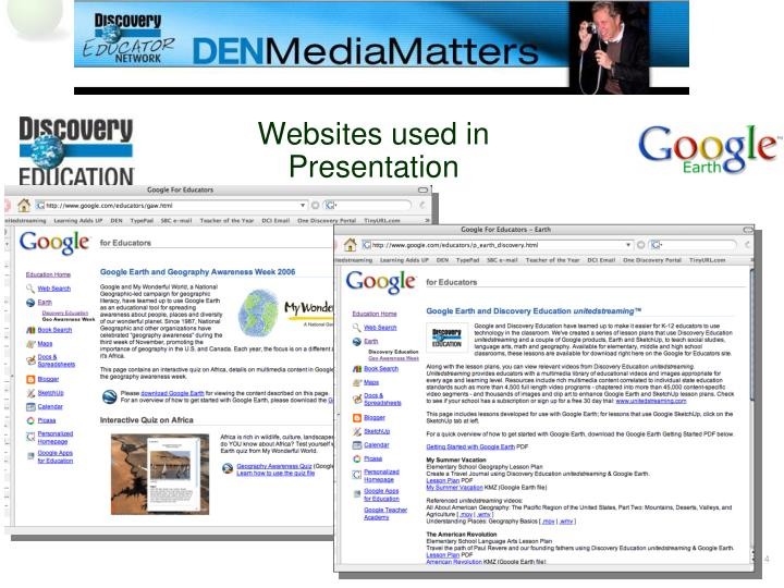 Websites used in