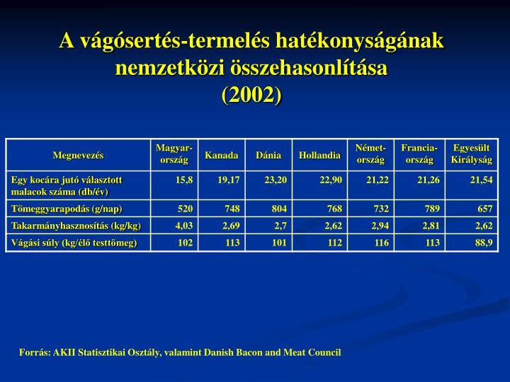 A vágósertés-termelés hatékonyságának nemzetközi összehasonlítása