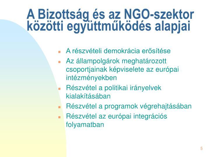 A Bizottság és az NGO-szektor közötti együttműködés alapjai