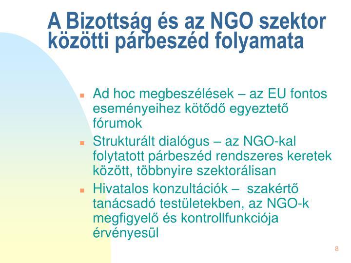 A Bizottság és az NGO szektor közötti párbeszéd folyamata