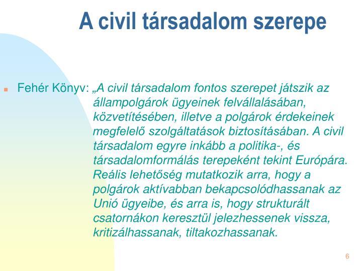 A civil társadalom szerepe