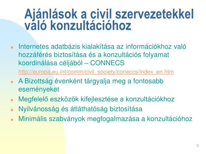 Ajánlások a civil szervezetekkel való konzultációhoz