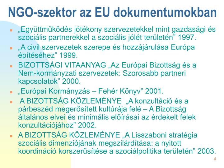 NGO-szektor az EU dokumentumokban