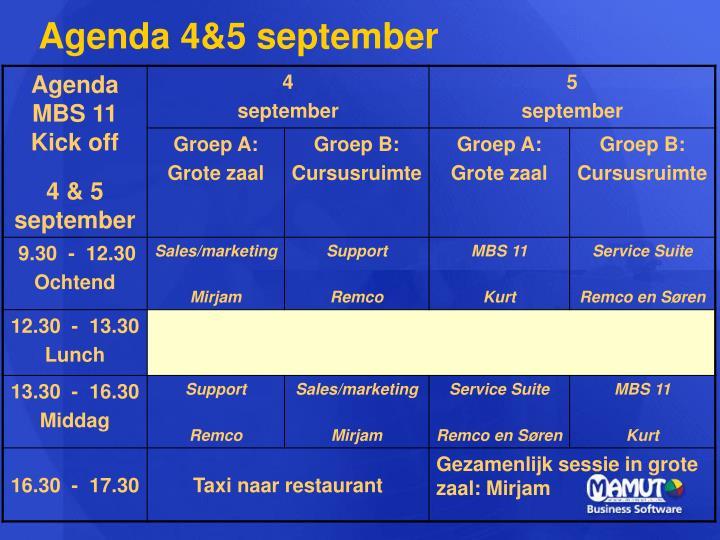 Agenda 4&5 september