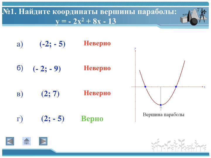 №1. Найдите координаты вершины параболы: