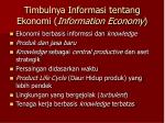 timbulnya informasi tentang ekonomi information economy