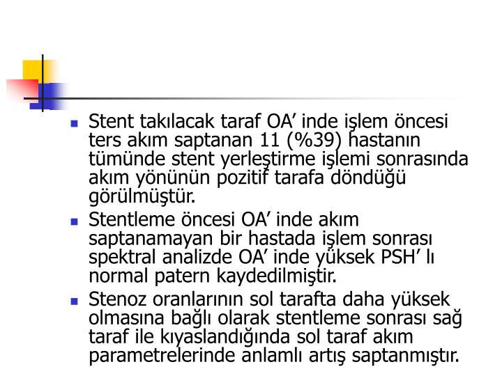 Stent taklacak taraf OA inde ilem ncesi ters akm saptanan 11 (%39) hastann