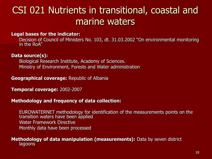 CSI 021 Nutrients in transitional, coastal and marine waters