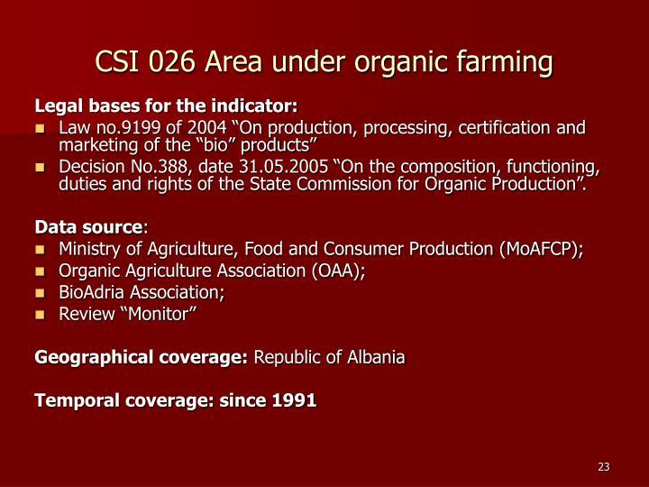 CSI 026 Area under organic farming