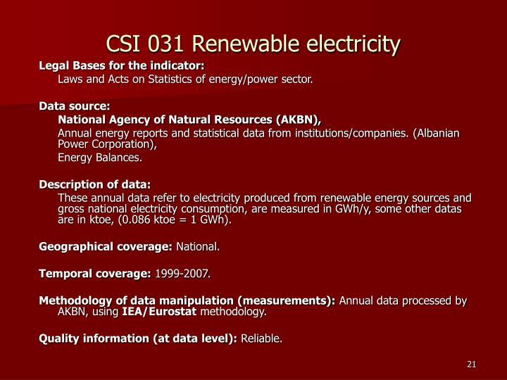 CSI 031 Renewable electricity