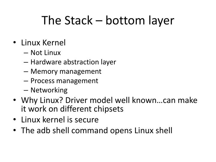 The Stack – bottom layer