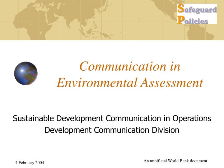 Communication in environmental assessment