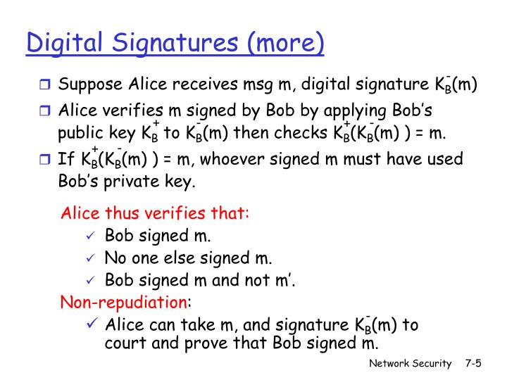 Suppose Alice receives msg m, digital signature K
