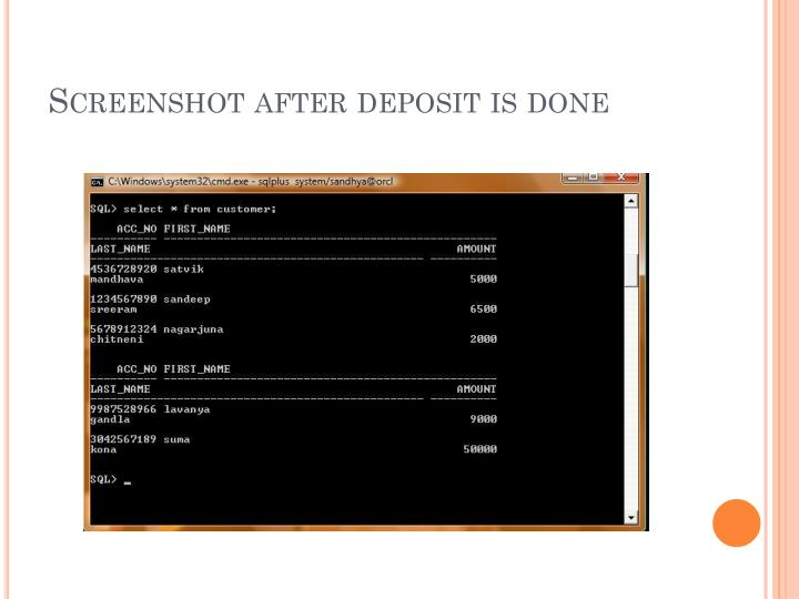 Screenshot after deposit is done