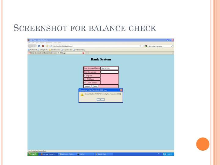 Screenshot for balance check