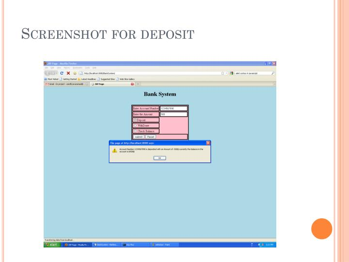 Screenshot for deposit