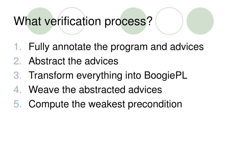 What verification process?