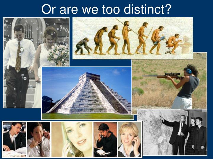 Or are we too distinct?