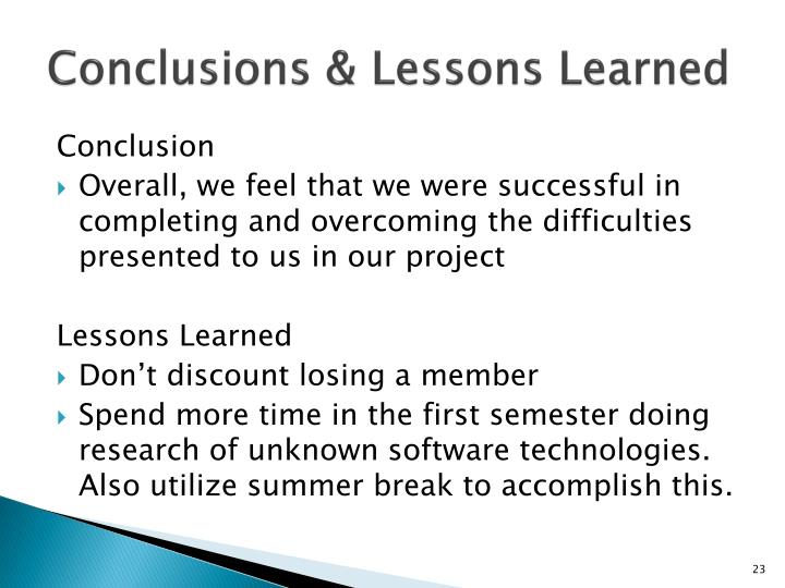 Conclusions & Lessons Learned