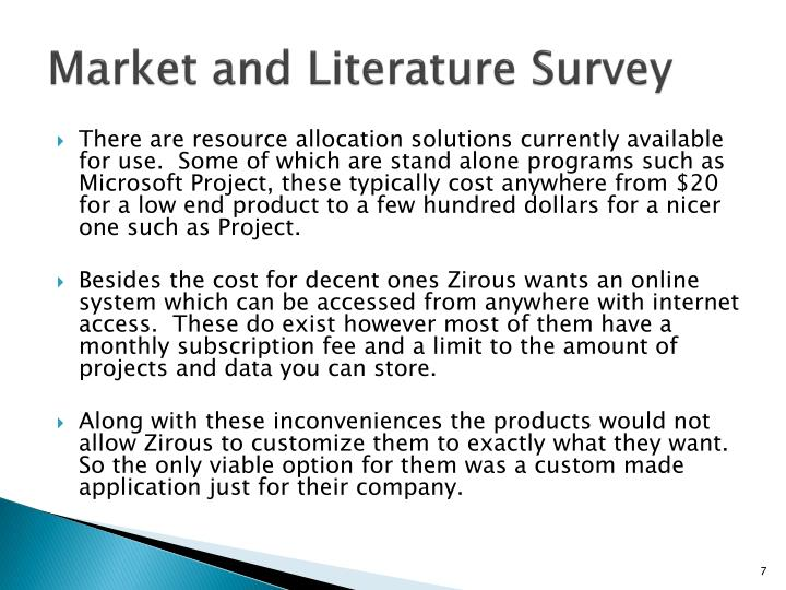 Market and Literature Survey