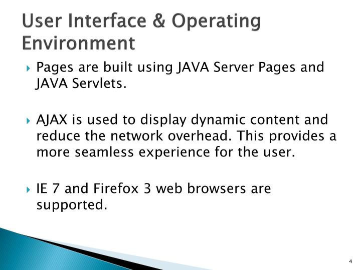 User Interface & Operating Environment