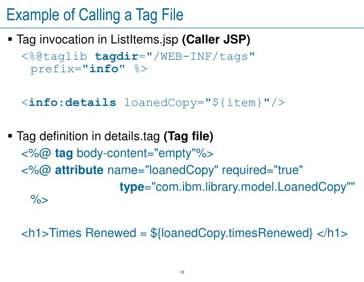 Example of Calling a Tag File