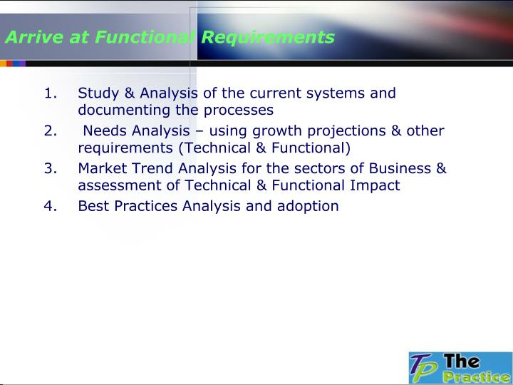Arrive at Functional Requirements
