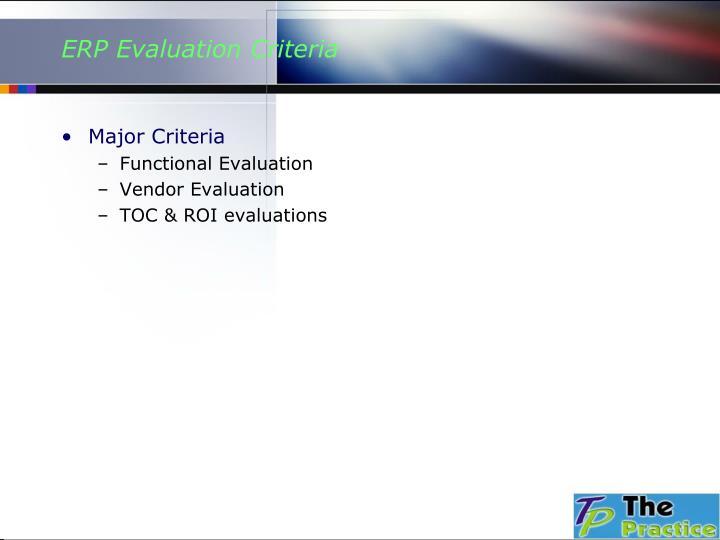 ERP Evaluation Criteria
