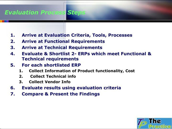 Evaluation Process Steps