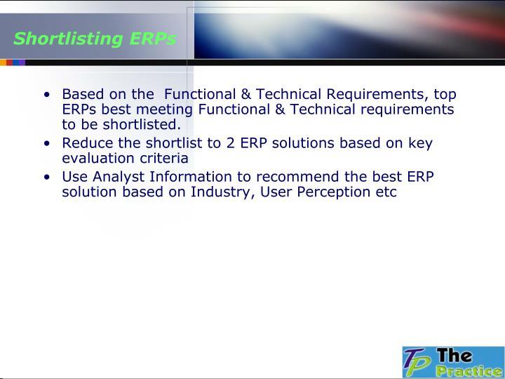 Shortlisting ERPs