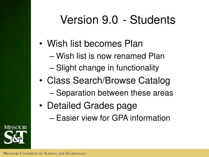 Version 9.0- Students