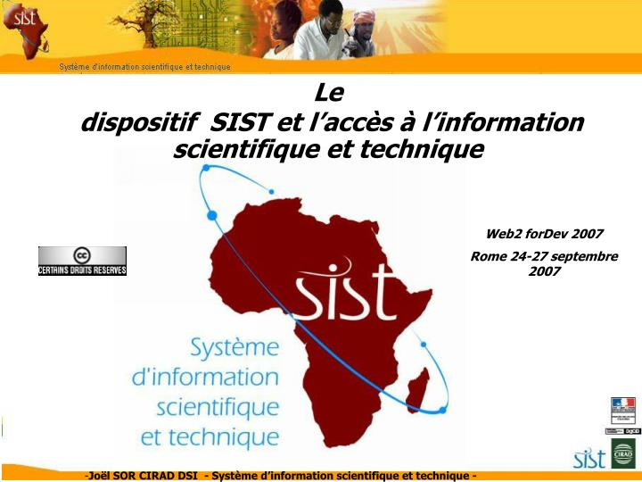 Le dispositif sist et l acc s l information scientifique et technique