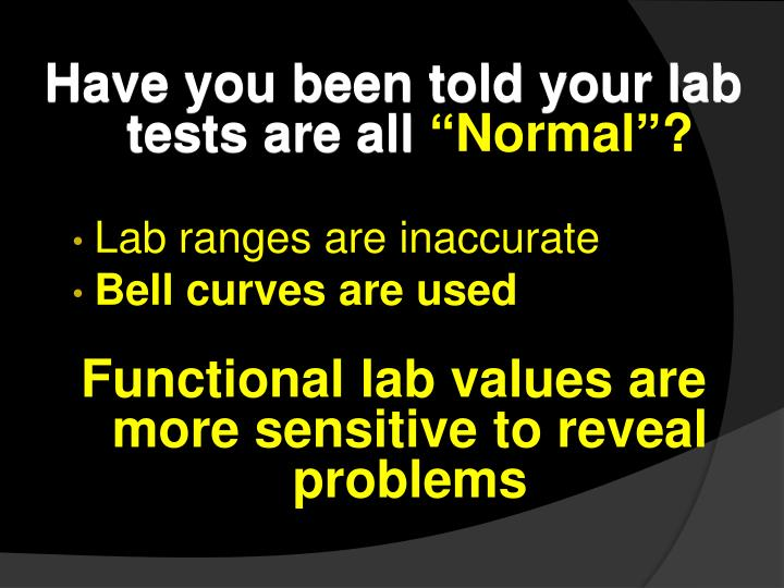Have you been told your lab tests are all