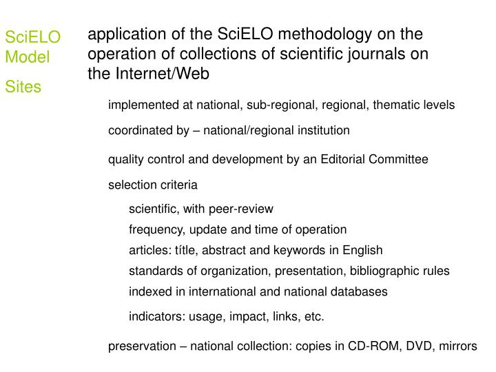 application of the SciELO methodology on the operation of collections of scientific journals on the Internet/Web