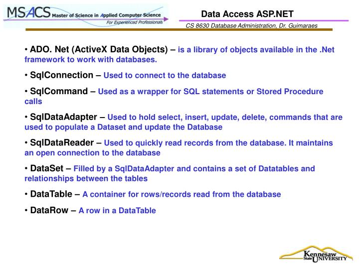 Data Access ASP.NET