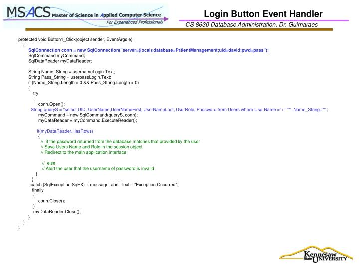 Login Button Event Handler