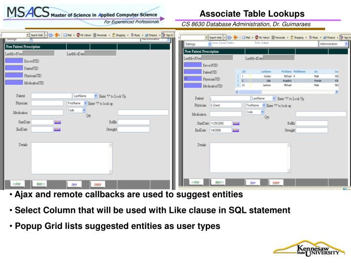 Associate Table Lookups