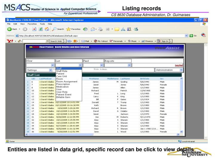 Listing records