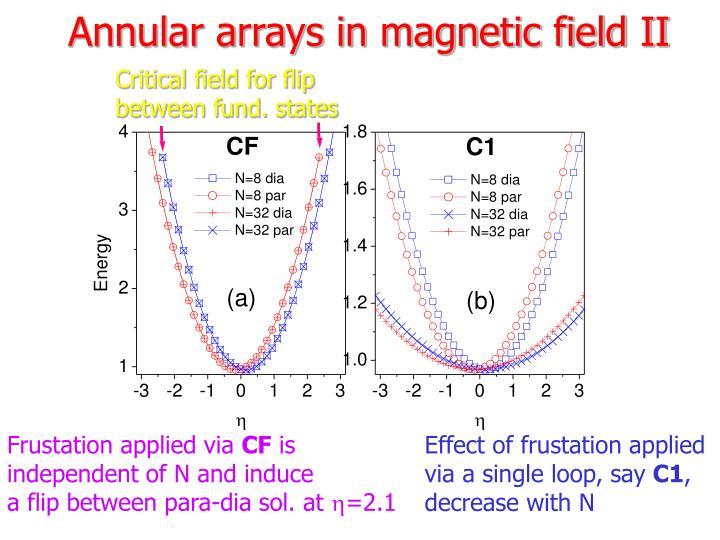 Annular arrays in magnetic field II