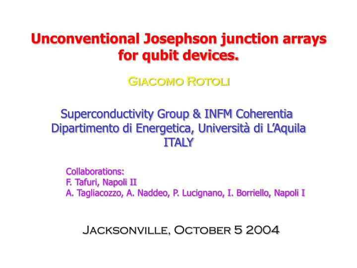 unconventional josephson junction arrays for qubit devices