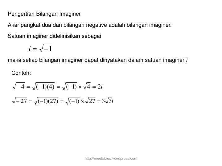 Pengertian Bilangan Imaginer