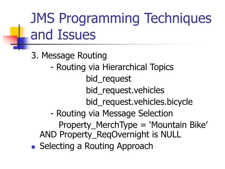 JMS Programming Techniques and Issues