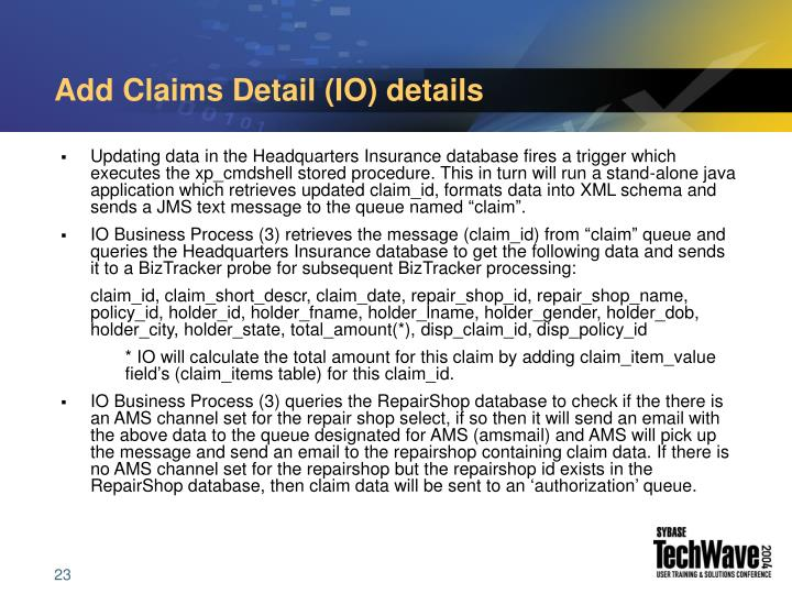 Add Claims Detail (IO) details