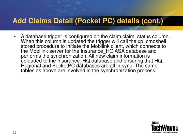 Add Claims Detail (Pocket PC) details (cont.)