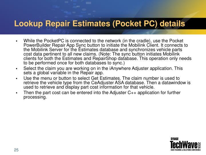 Lookup Repair Estimates (Pocket PC) details